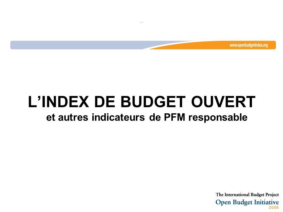 … LINDEX DE BUDGET OUVERT et autres indicateurs de PFM responsable