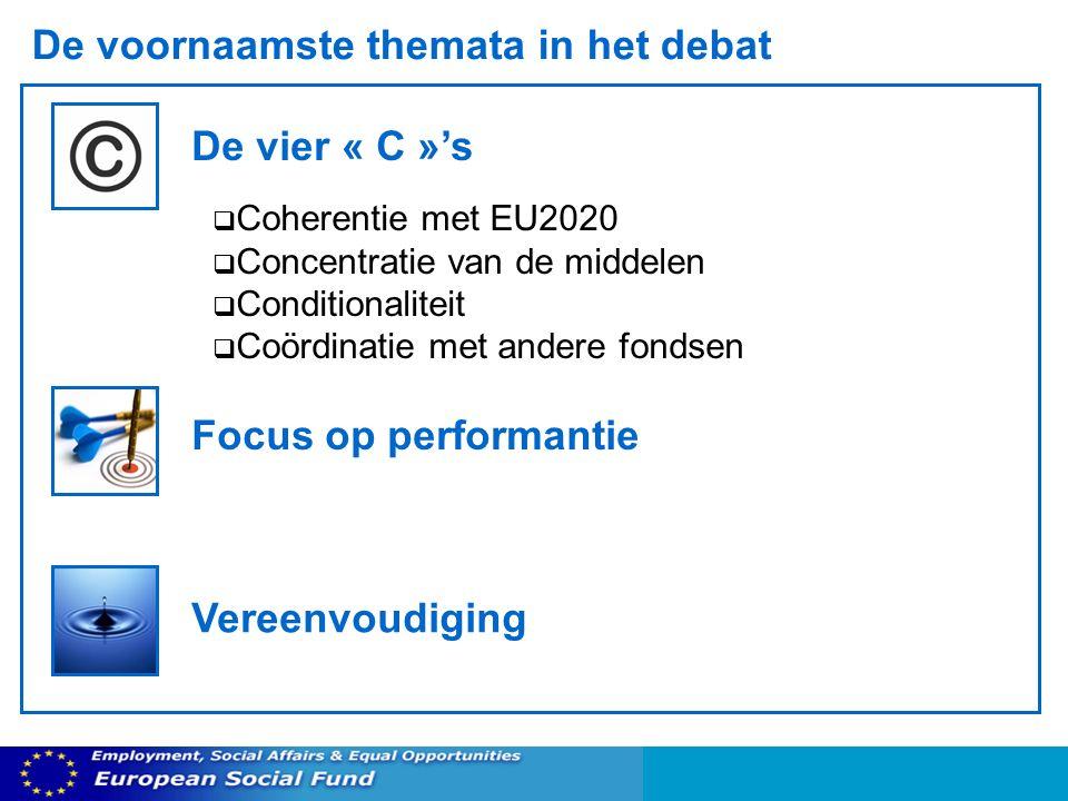 De voornaamste themata in het debat De vier « C »s Coherentie met EU2020 Concentratie van de middelen Conditionaliteit Coördinatie met andere fondsen Focus op performantie Vereenvoudiging