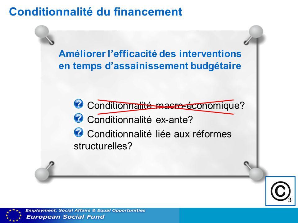 Conditionnalité du financement Conditionnalité macro-économique? Conditionnalité ex-ante? Conditionnalité liée aux réformes structurelles? Améliorer l