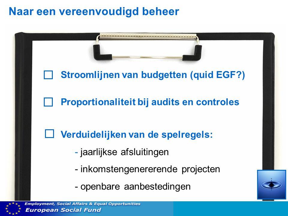Naar een vereenvoudigd beheer Stroomlijnen van budgetten (quid EGF ) Proportionaliteit bij audits en controles Verduidelijken van de spelregels: - jaarlijkse afsluitingen - inkomstengenererende projecten - openbare aanbestedingen