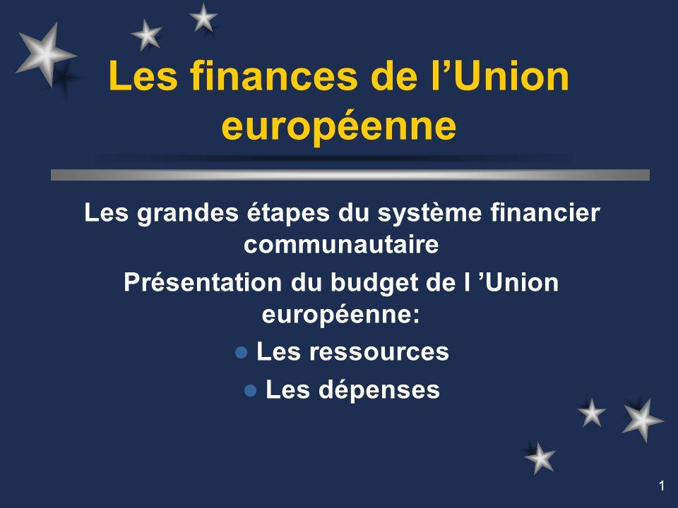 1 Les finances de lUnion européenne Les grandes étapes du système financier communautaire Présentation du budget de l Union européenne: Les ressources Les dépenses