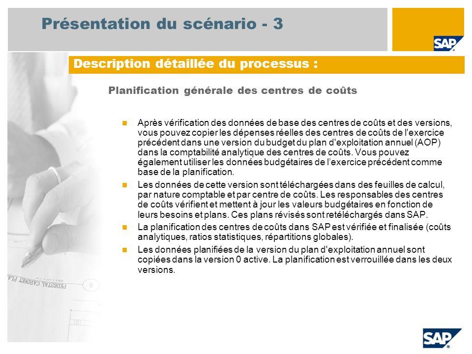 Présentation du scénario - 3 Planification générale des centres de coûts Après vérification des données de base des centres de coûts et des versions, vous pouvez copier les dépenses réelles des centres de coûts de l exercice précédent dans une version du budget du plan d exploitation annuel (AOP) dans la comptabilité analytique des centres de coûts.