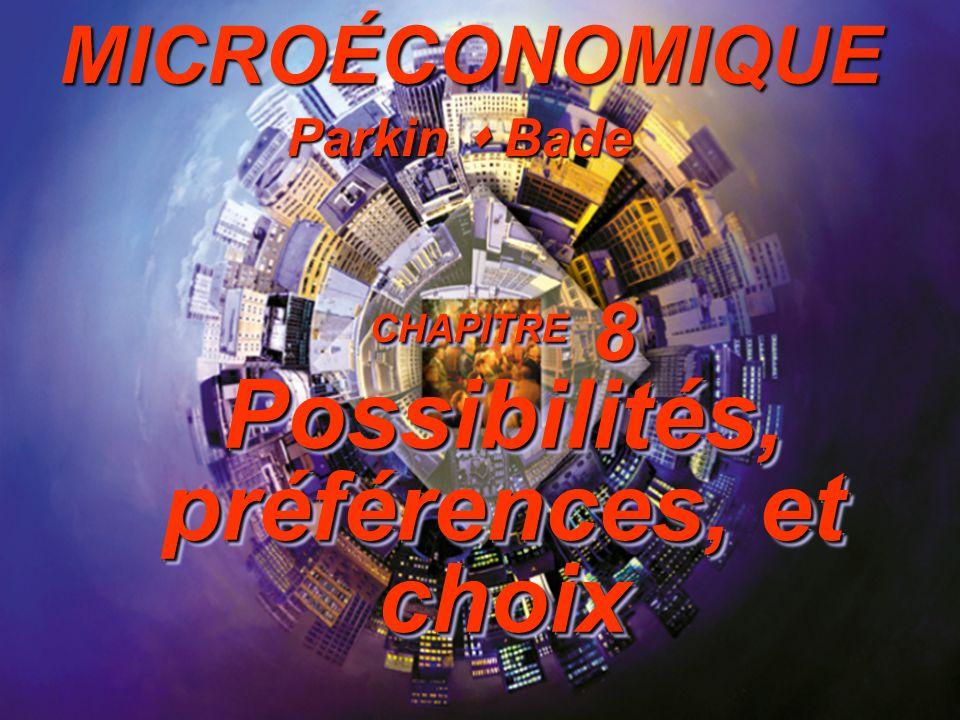 CHAPITRE 8 Possibilités, préférences, et choix Parkin Bade MICROÉCONOMIQUE