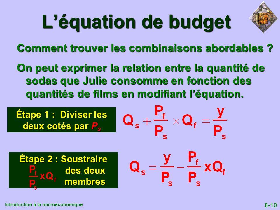 Introduction à la microéconomique 8-10 Léquation de budget Comment trouver les combinaisons abordables ? On peut exprimer la relation entre la quantit