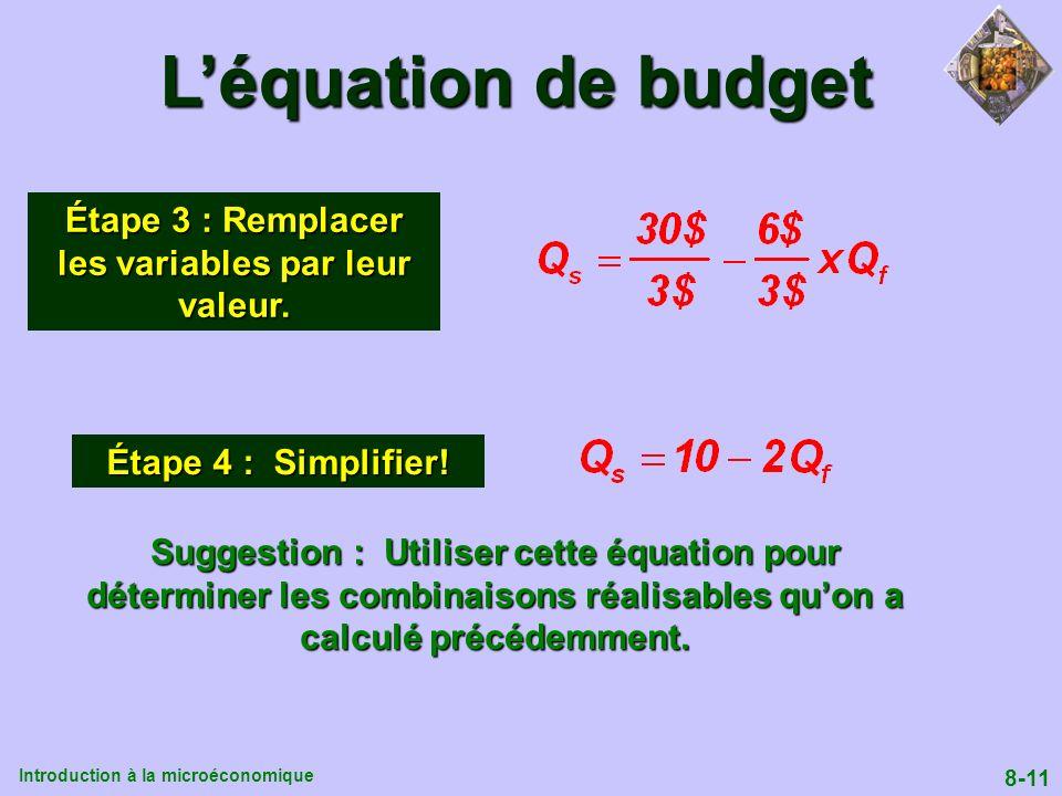 Introduction à la microéconomique 8-11 Léquation de budget Étape 3 : Remplacer les variables par leur valeur. Étape 4 : Simplifier! Suggestion : Utili
