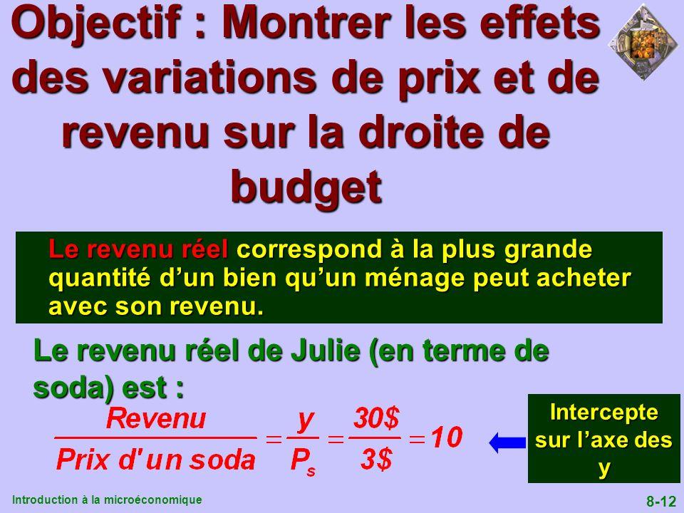 Introduction à la microéconomique 8-12 Le revenu réel correspond à la plus grande quantité dun bien quun ménage peut acheter avec son revenu. Le reven