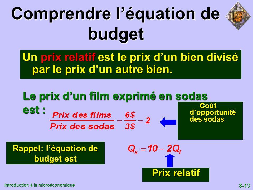 Introduction à la microéconomique 8-13 Comprendre léquation de budget Un prix relatif est le prix dun bien divisé par le prix dun autre bien. Le prix