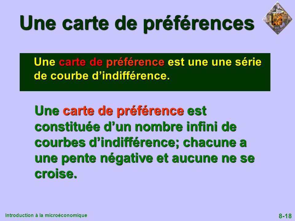Introduction à la microéconomique 8-18 Une carte de préférences Une carte de préférence est une une série de courbe dindifférence. Une carte de préfér
