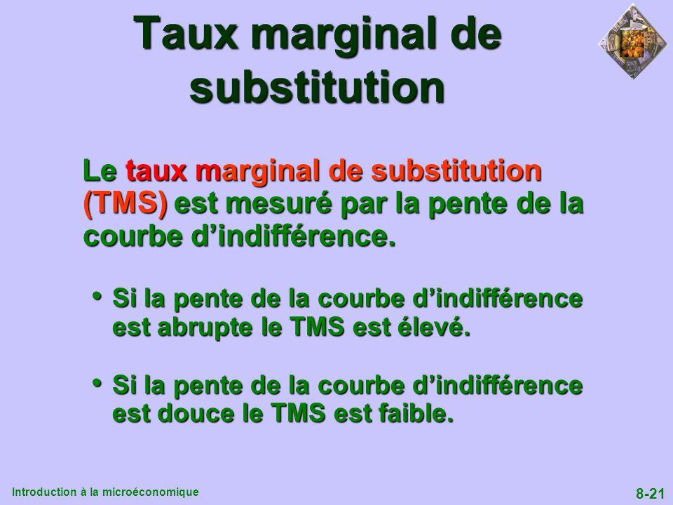 Introduction à la microéconomique 8-21 Taux marginal de substitution Le taux marginal de substitution (TMS) est mesuré par la pente de la courbe dindi