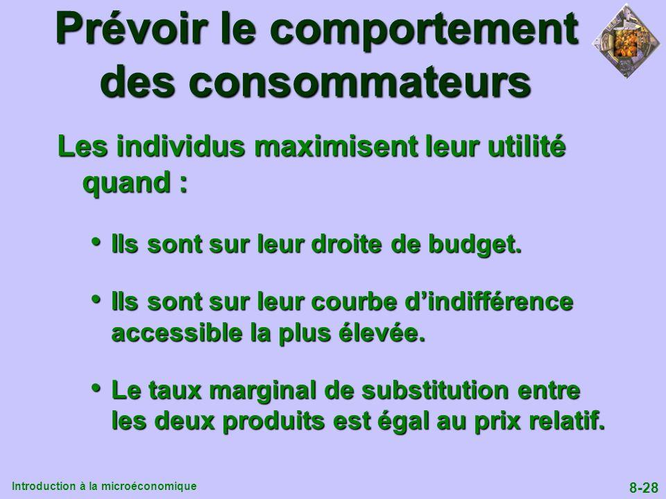 Introduction à la microéconomique 8-28 Prévoir le comportement des consommateurs Les individus maximisent leur utilité quand : Ils sont sur leur droit