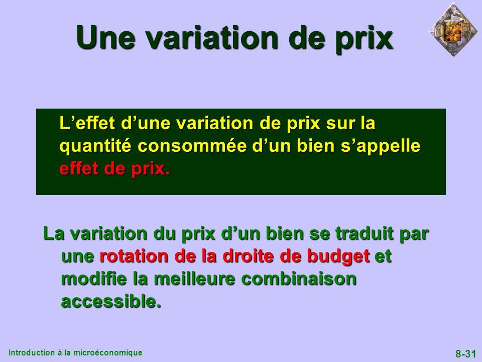 Introduction à la microéconomique 8-31 Une variation de prix Leffet dune variation de prix sur la quantité consommée dun bien sappelle effet de prix.