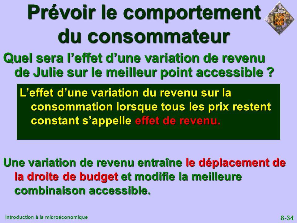 Introduction à la microéconomique 8-34 Prévoir le comportement du consommateur Quel sera leffet dune variation de revenu de Julie sur le meilleur poin