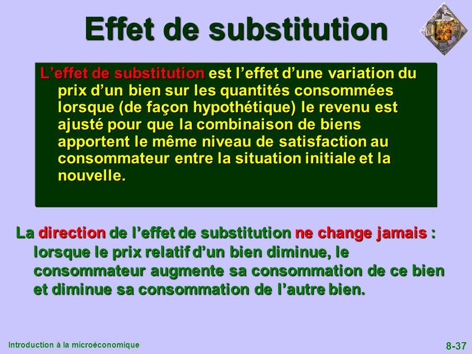 Introduction à la microéconomique 8-37 Effet de substitution Leffet de substitution est leffet dune variation du prix dun bien sur les quantités conso