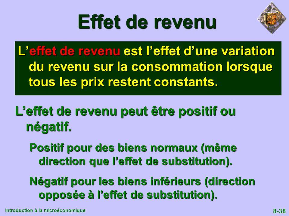 Introduction à la microéconomique 8-38 Effet de revenu Leffet de revenu est leffet dune variation du revenu sur la consommation lorsque tous les prix