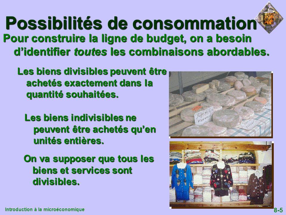 Introduction à la microéconomique 8-5 Possibilités de consommation Pour construire la ligne de budget, on a besoin didentifier toutes les combinaisons
