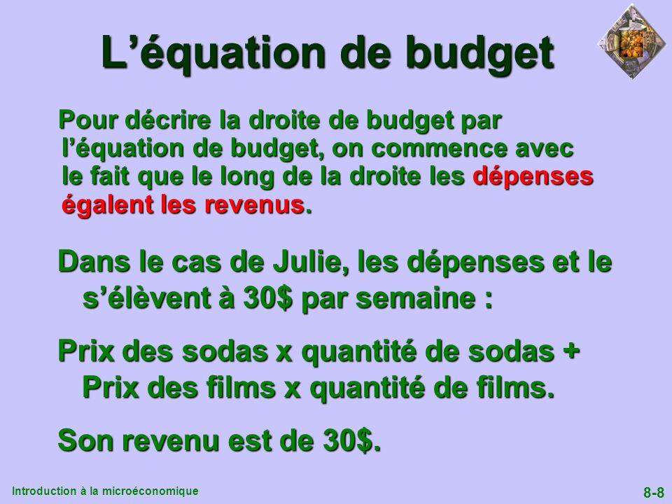 Introduction à la microéconomique 8-8 Léquation de budget Pour décrire la droite de budget par léquation de budget, on commence avec le fait que le lo