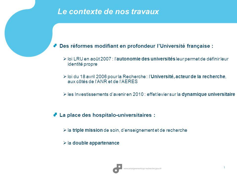 Le contexte de nos travaux 1 Des réformes modifiant en profondeur lUniversité française : loi LRU en août 2007 : lautonomie des universités leur perme