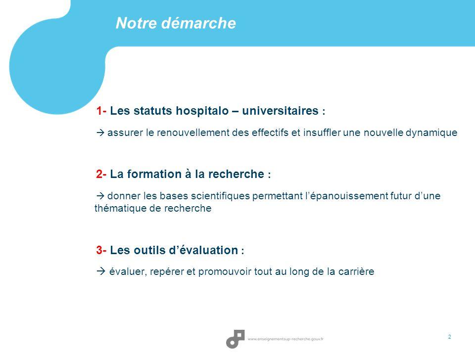 Notre démarche 2 1- Les statuts hospitalo – universitaires : assurer le renouvellement des effectifs et insuffler une nouvelle dynamique 2- La formati