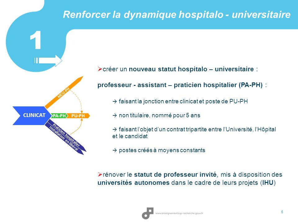 Renforcer la dynamique hospitalo - universitaire créer un nouveau statut hospitalo – universitaire : professeur - assistant – praticien hospitalier (P