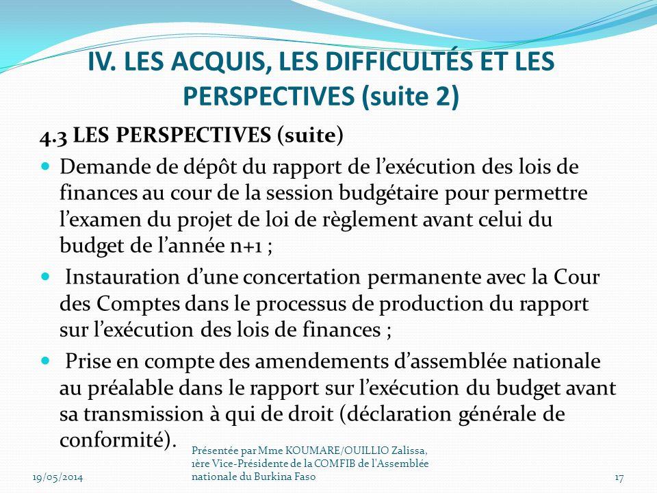 4.3 LES PERSPECTIVES (suite) Demande de dépôt du rapport de lexécution des lois de finances au cour de la session budgétaire pour permettre lexamen du