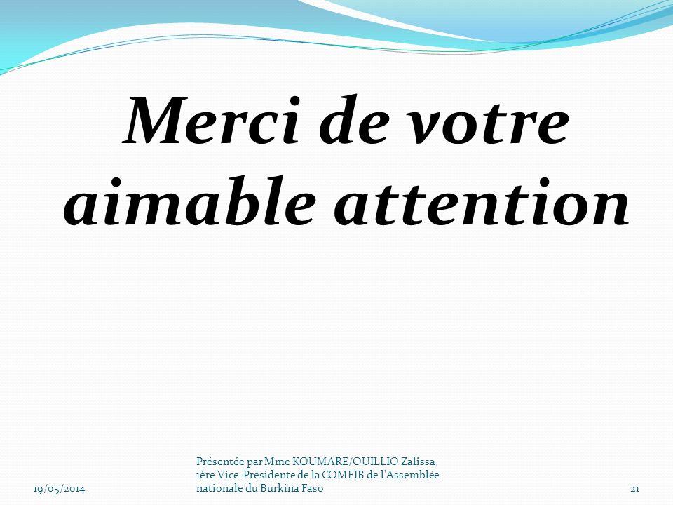 Merci de votre aimable attention 19/05/201421 Présentée par Mme KOUMARE/OUILLIO Zalissa, 1ère Vice-Présidente de la COMFIB de l'Assemblée nationale du