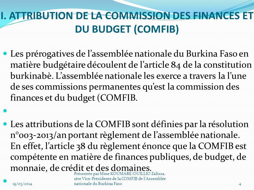 I. ATTRIBUTION DE LA COMMISSION DES FINANCES ET DU BUDGET (COMFIB) Les prérogatives de lassemblée nationale du Burkina Faso en matière budgétaire déco