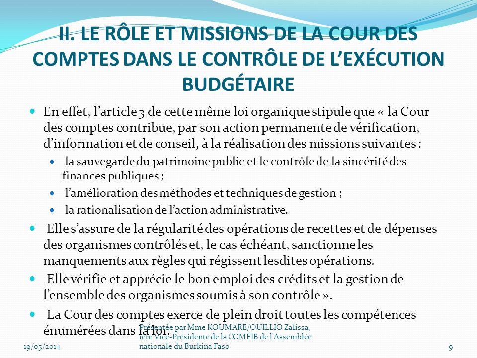 La constitution du Burkina Faso en son article 105 dispose que : « Le Parlement règle les comptes de la nation, selon les modalités prévues par la loi de finances.