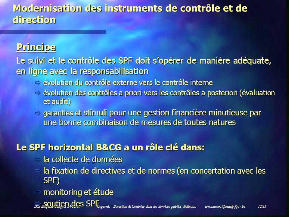IRG Belgium Congrès 24/11/00Copernic - Direction & Contrôle dans les Services publics fédéraux tom.auwers@mazfp.fgov.be 12/31 Modernisation des instru