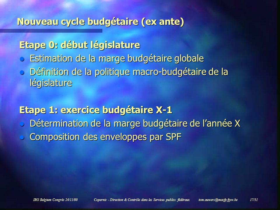 IRG Belgium Congrès 24/11/00Copernic - Direction & Contrôle dans les Services publics fédéraux tom.auwers@mazfp.fgov.be 17/31 Nouveau cycle budgétaire
