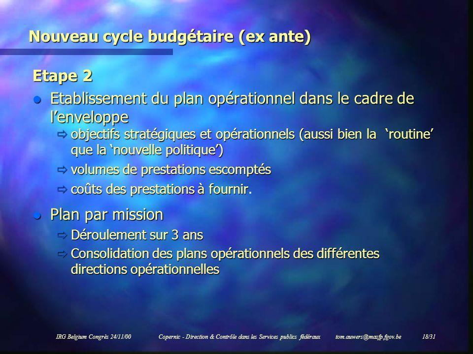 IRG Belgium Congrès 24/11/00Copernic - Direction & Contrôle dans les Services publics fédéraux tom.auwers@mazfp.fgov.be 18/31 Nouveau cycle budgétaire