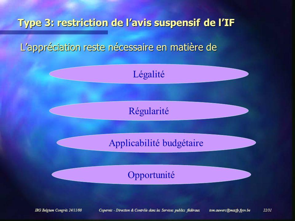 IRG Belgium Congrès 24/11/00Copernic - Direction & Contrôle dans les Services publics fédéraux tom.auwers@mazfp.fgov.be 22/31 Type 3: restriction de l