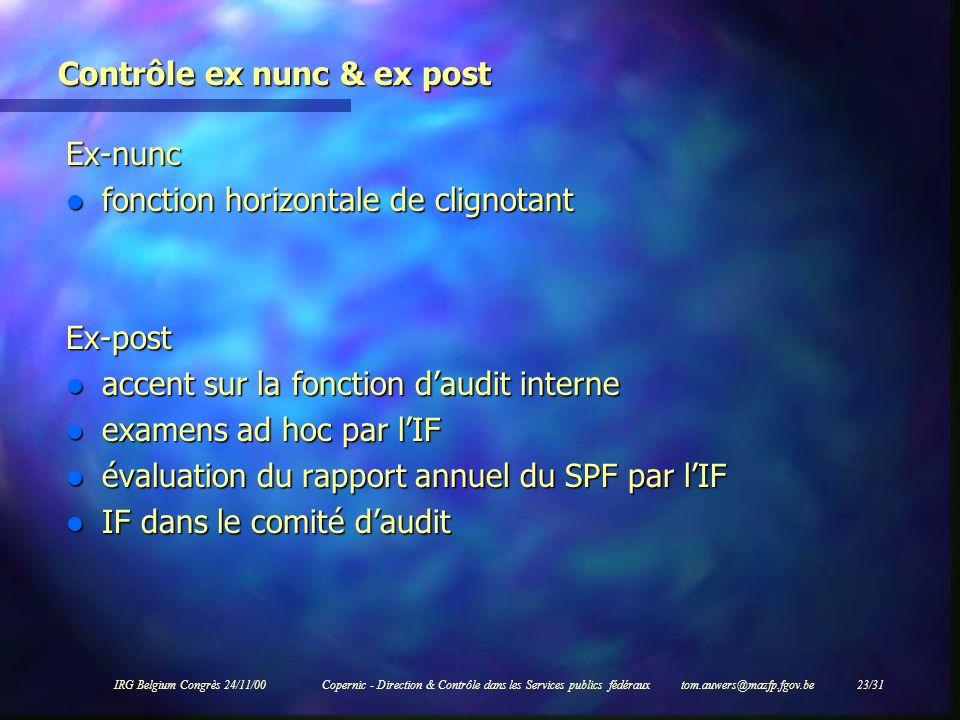 IRG Belgium Congrès 24/11/00Copernic - Direction & Contrôle dans les Services publics fédéraux tom.auwers@mazfp.fgov.be 23/31 Contrôle ex nunc & ex po