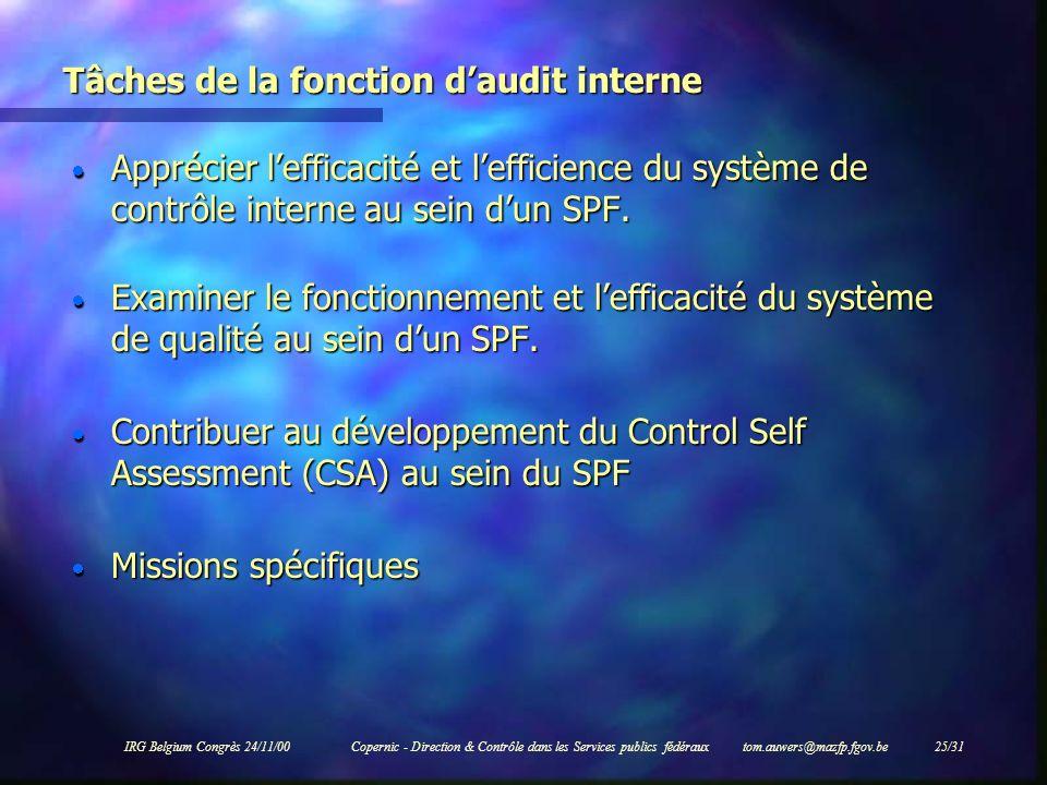 IRG Belgium Congrès 24/11/00Copernic - Direction & Contrôle dans les Services publics fédéraux tom.auwers@mazfp.fgov.be 25/31 Tâches de la fonction da