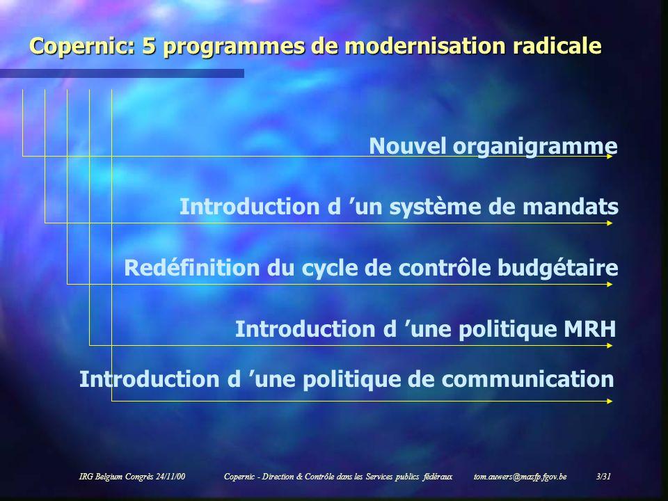 IRG Belgium Congrès 24/11/00Copernic - Direction & Contrôle dans les Services publics fédéraux tom.auwers@mazfp.fgov.be 3/31 Copernic: 5 programmes de