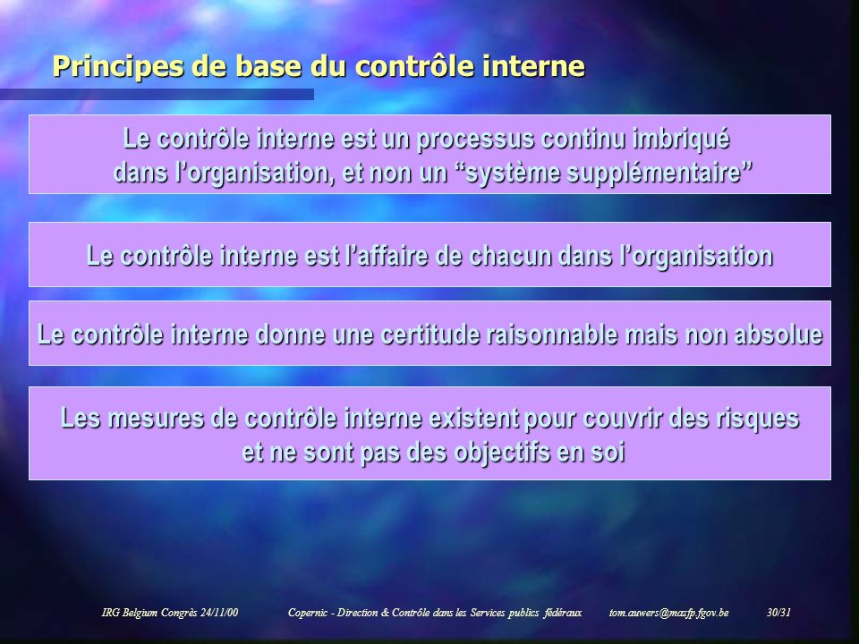 IRG Belgium Congrès 24/11/00Copernic - Direction & Contrôle dans les Services publics fédéraux tom.auwers@mazfp.fgov.be 30/31 Principes de base du con