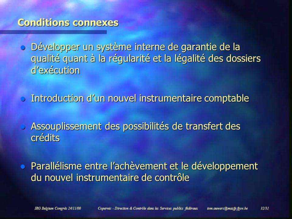 IRG Belgium Congrès 24/11/00Copernic - Direction & Contrôle dans les Services publics fédéraux tom.auwers@mazfp.fgov.be 32/31 Conditions connexes l Dé