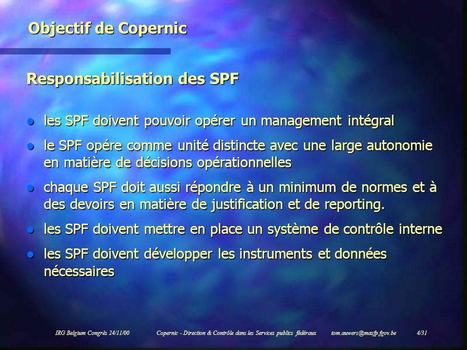 IRG Belgium Congrès 24/11/00Copernic - Direction & Contrôle dans les Services publics fédéraux tom.auwers@mazfp.fgov.be 4/31 Objectif de Copernic Resp