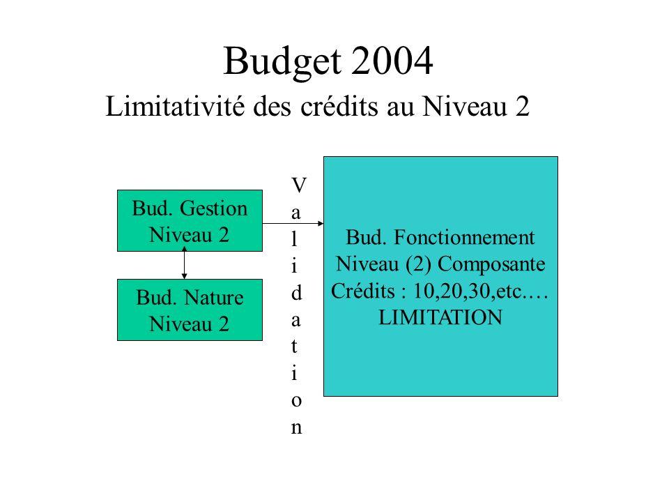 Budget 2004 Disparition des CR Financiers Limitation au Niveau 2,inutile de faire des réserves au niveau 3 Par défaut les crédits a ventiler au niveau 3 et 4 sont les crédits votés.