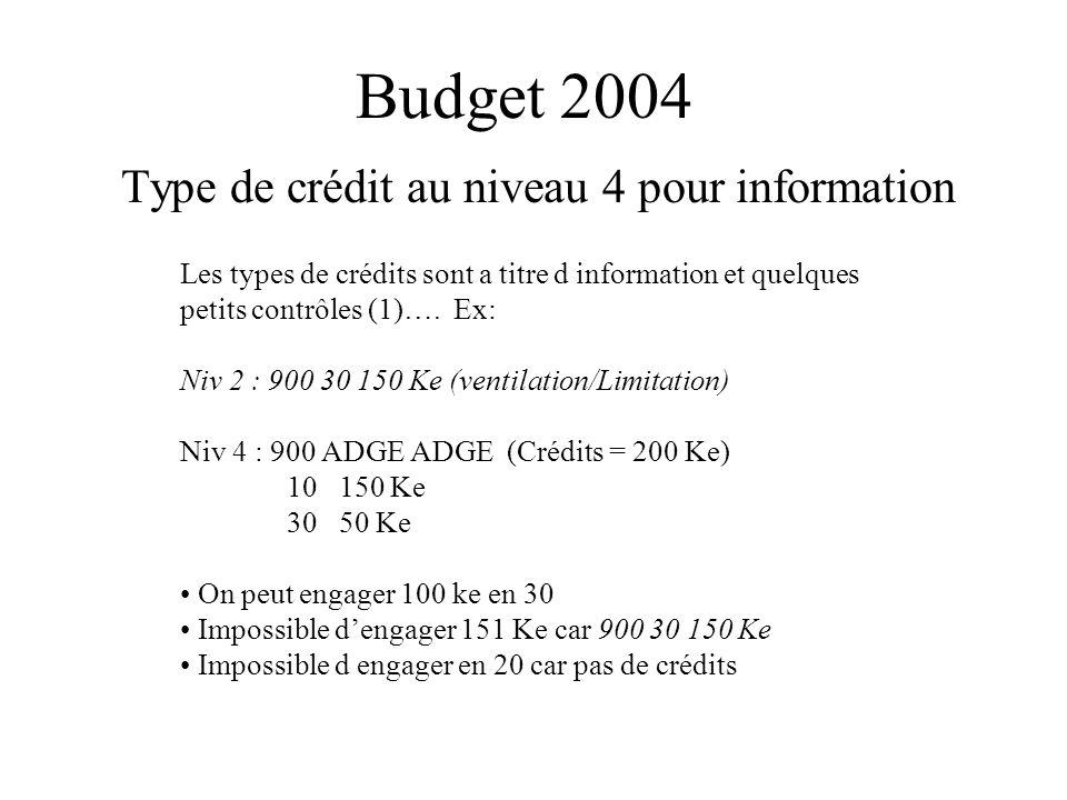 Budget 2004 Type de crédit au niveau 4 pour information Les types de crédits sont a titre d information et quelques petits contrôles (1)…. Ex: Niv 2 :