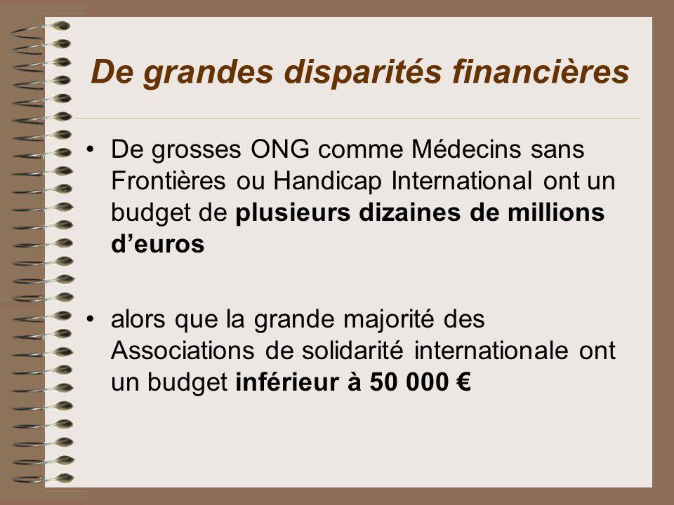 De grandes disparités financières De grosses ONG comme Médecins sans Frontières ou Handicap International ont un budget de plusieurs dizaines de milli