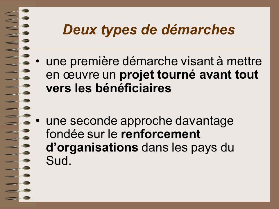 Deux types de démarches une première démarche visant à mettre en œuvre un projet tourné avant tout vers les bénéficiaires une seconde approche davanta