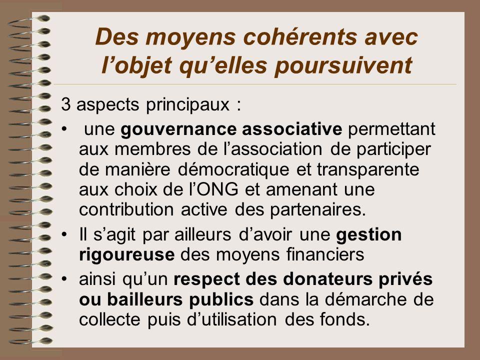 Des moyens cohérents avec lobjet quelles poursuivent 3 aspects principaux : une gouvernance associative permettant aux membres de lassociation de part
