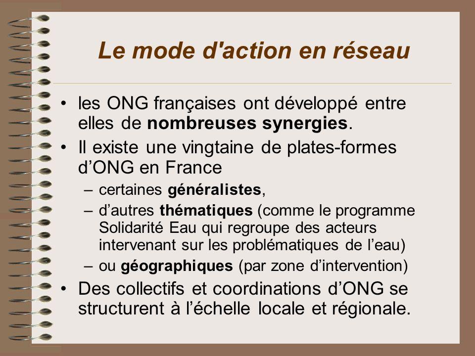 Le mode d'action en réseau les ONG françaises ont développé entre elles de nombreuses synergies. Il existe une vingtaine de plates-formes dONG en Fran