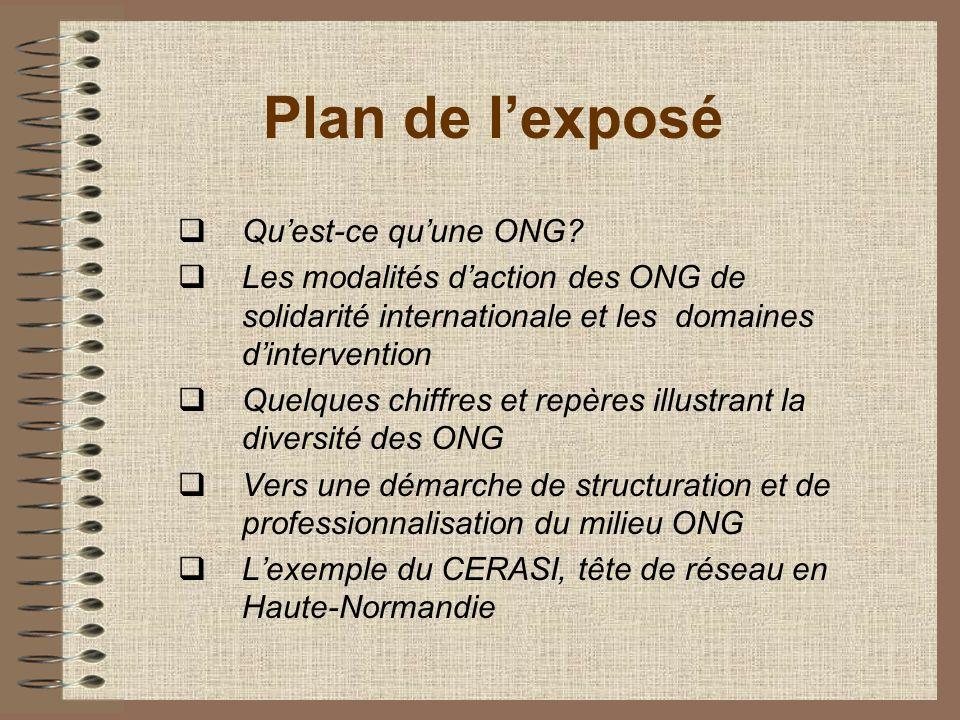 Plan de lexposé Quest-ce quune ONG? Les modalités daction des ONG de solidarité internationale et les domaines dintervention Quelques chiffres et repè