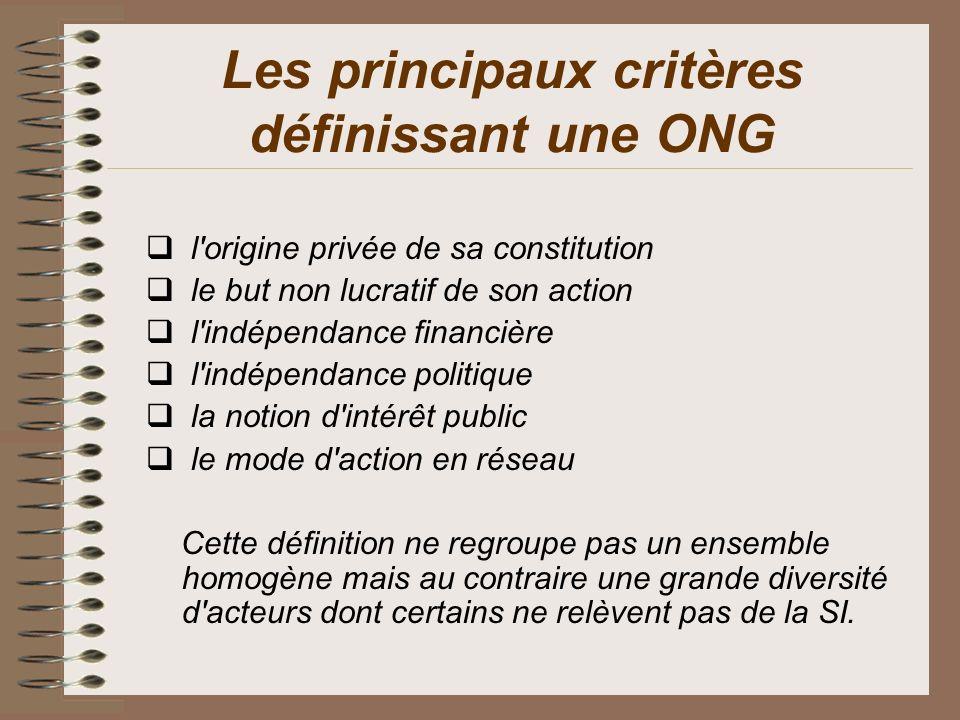 Les principaux critères définissant une ONG l'origine privée de sa constitution le but non lucratif de son action l'indépendance financière l'indépend