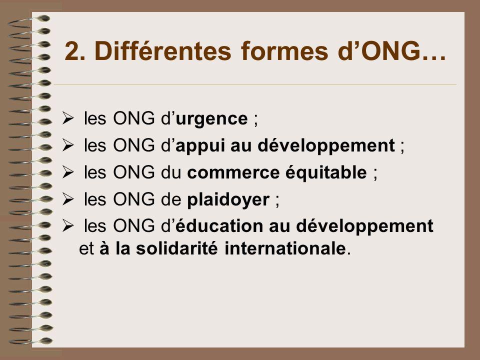 2. Différentes formes dONG… les ONG durgence ; les ONG dappui au développement ; les ONG du commerce équitable ; les ONG de plaidoyer ; les ONG déduca