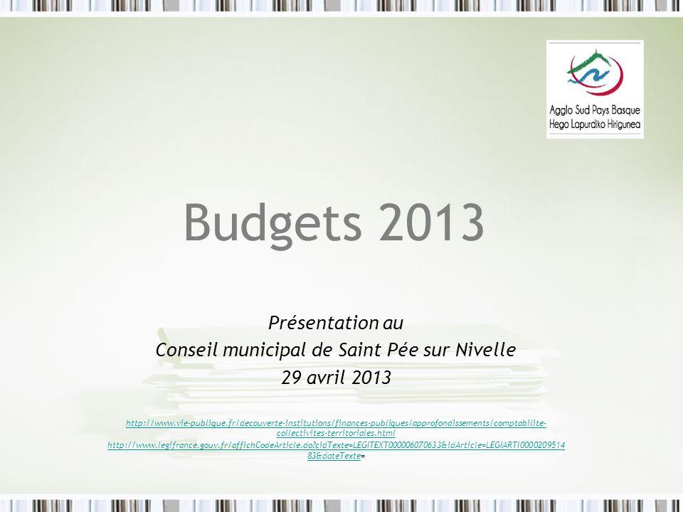 Budgets 2013 Présentation au Conseil municipal de Saint Pée sur Nivelle 29 avril 2013 http://www.vie-publique.fr/decouverte-institutions/finances-publ