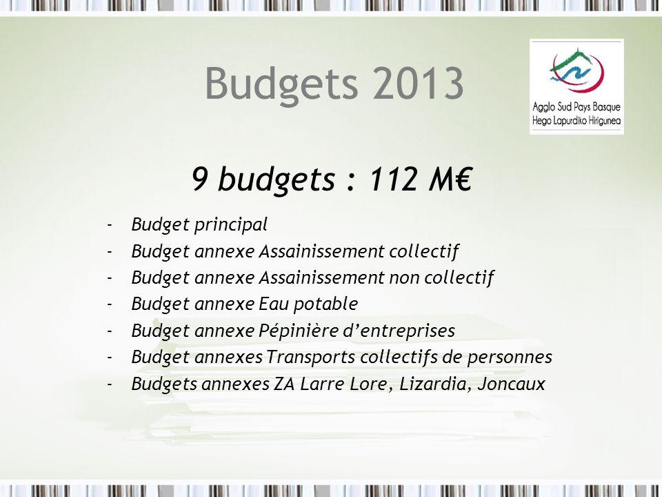 Budgets 2013 9 budgets : 112 M -Budget principal -Budget annexe Assainissement collectif -Budget annexe Assainissement non collectif -Budget annexe Ea