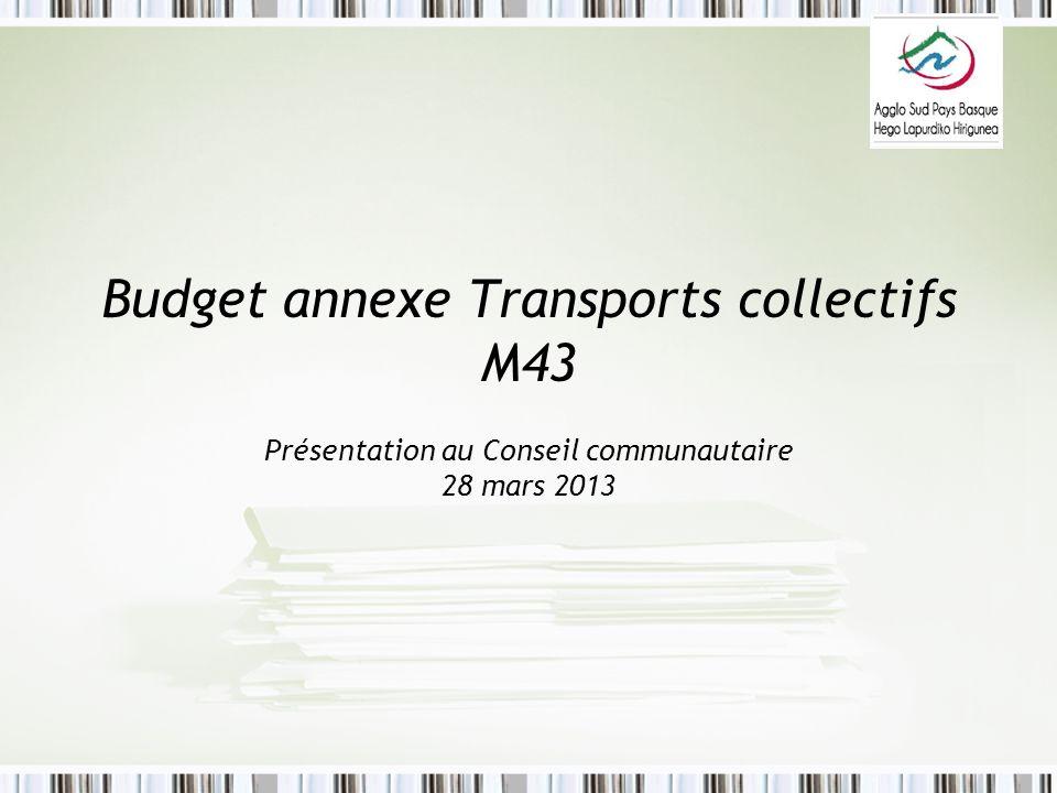 Budget annexe Transports collectifs M43 Présentation au Conseil communautaire 28 mars 2013
