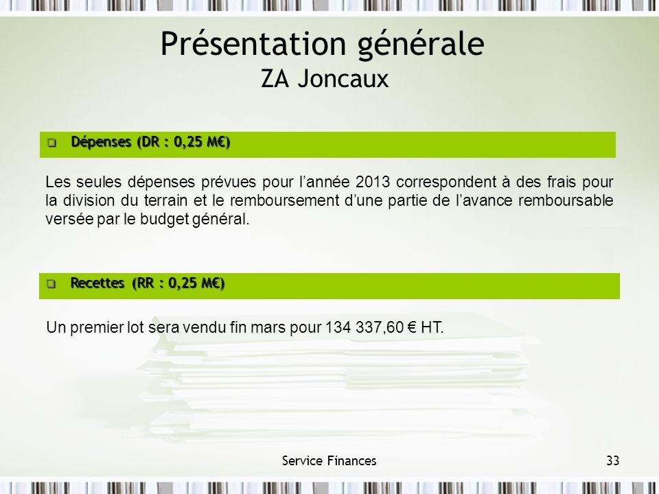 Présentation générale ZA Joncaux Service Finances33 Dépenses (DR : 0,25 M) Dépenses (DR : 0,25 M) Recettes (RR : 0,25 M) Recettes (RR : 0,25 M) Un pre